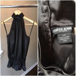 Guess Shiny Black Cocktail Party Top Blouse Small